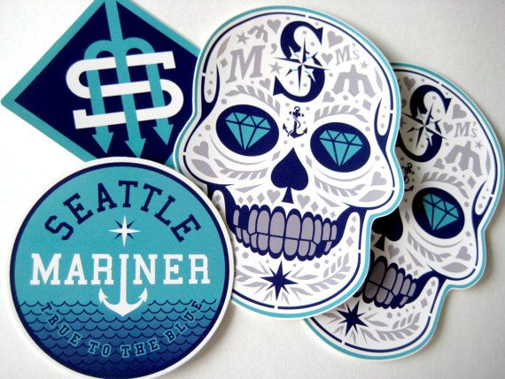 Seattle mariners sticker set waterproof weatherproof 4 year capable indoor outdoor use adhesive