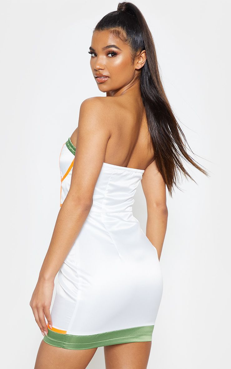 5d4ab5682d7d White Satin Contrast Binding Bodycon Dress in 2019 | Products ...
