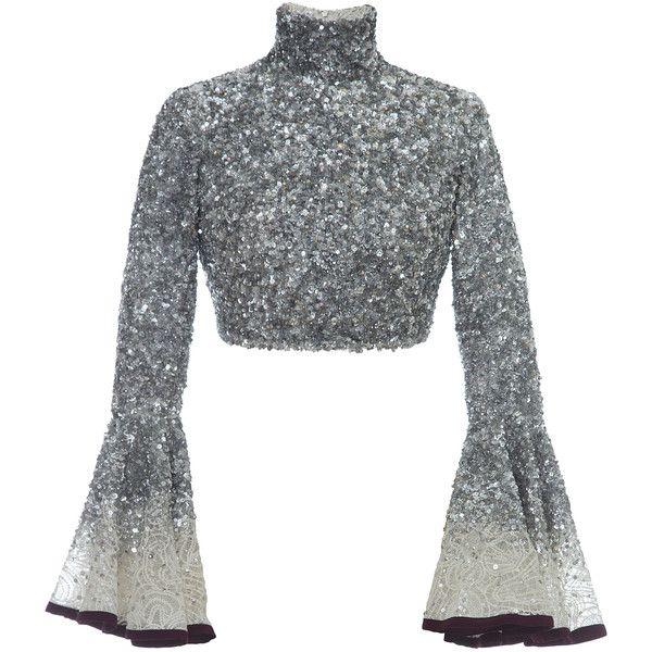 6ea1f3f4a0650 Hussein Bazaza Silk Sequin Cropped Top ( 1