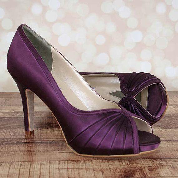 Wedding Shoes Bridal Heels Crystal Shoes Purple Wedding Etsy Purple Wedding Shoes Bridal Heels Custom Wedding Shoes