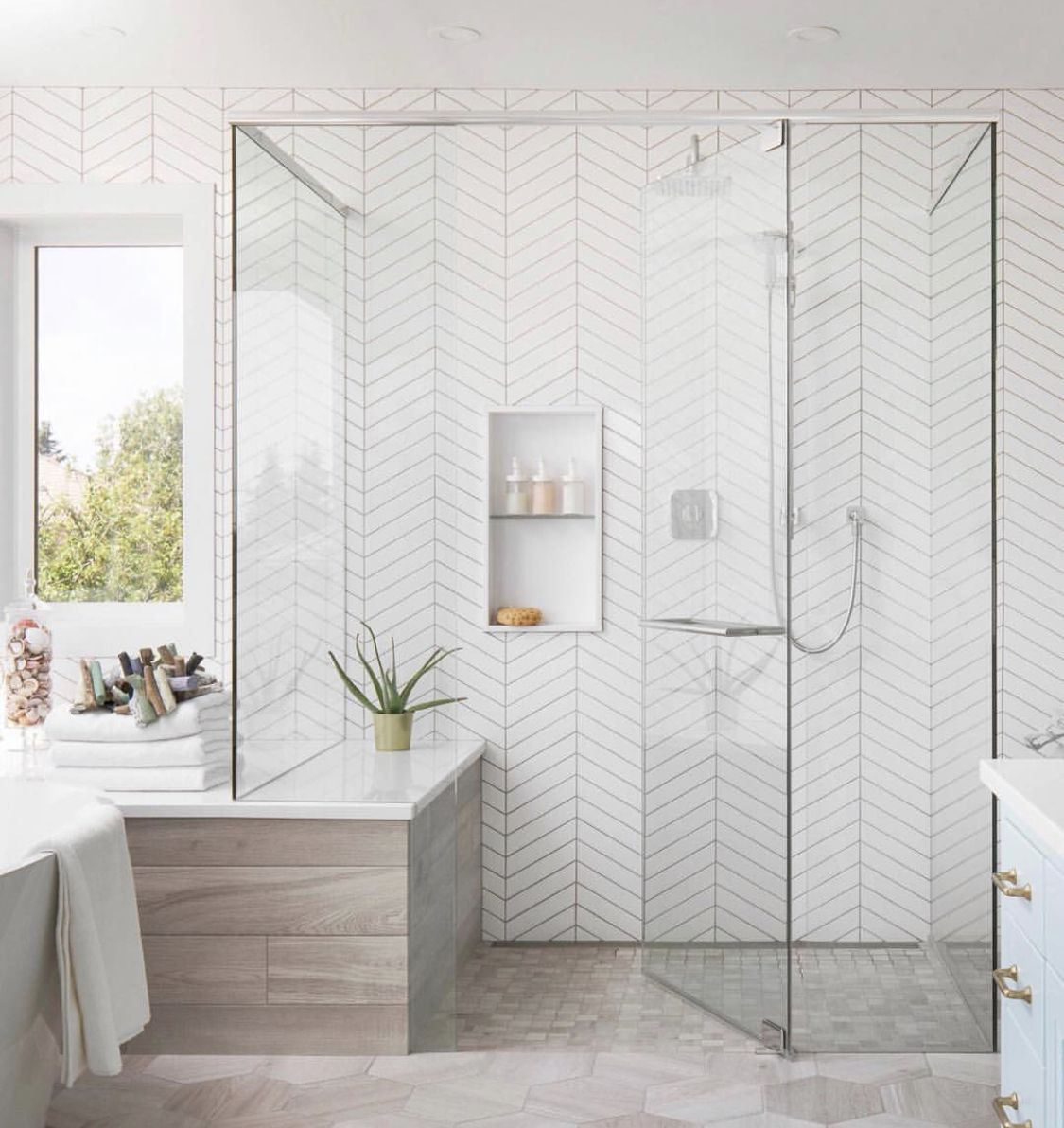 Pin By Tamara Spence On Bathroom Bathroom Interior Design Bathroom Interior White Herringbone Tile