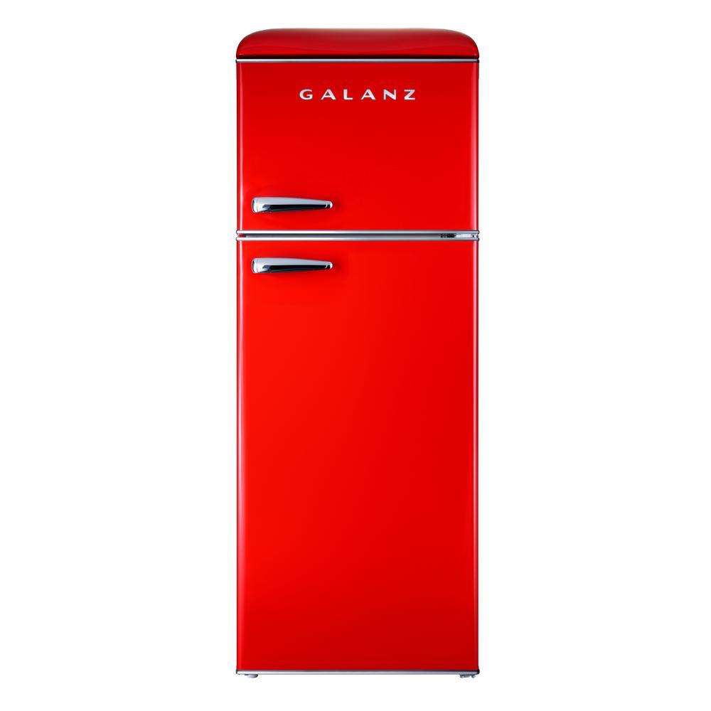 Galanz 7 6 Cu Ft Retro Mini Refrigerator With Dual Door And True Freezer In Red Bcd 215v 62h With Images Retro Fridge Retro Refrigerator Retro