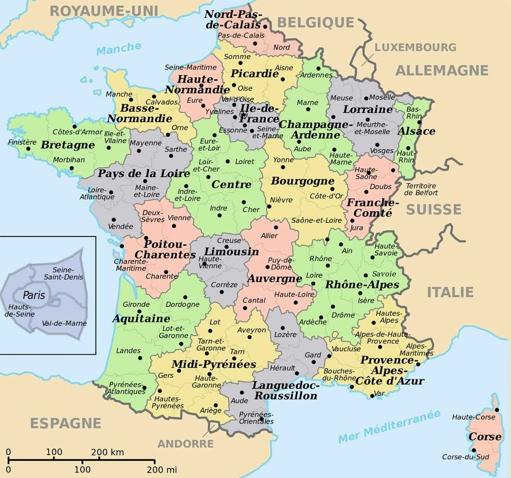 Carte De France Departements Villes Et Regions France Map