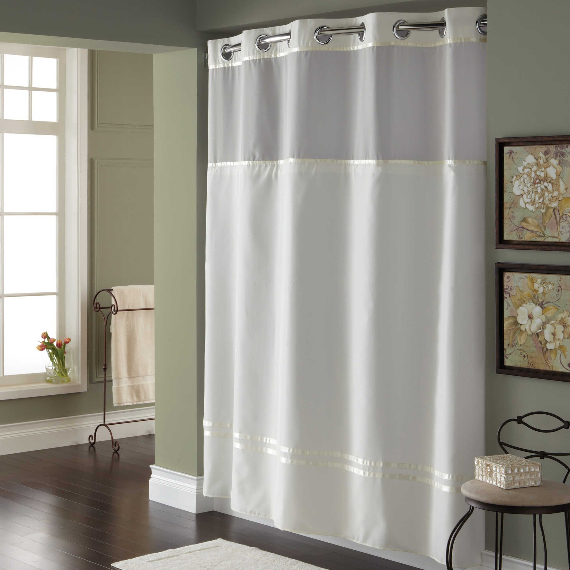 Hookless Escape 54 Inch X 80 Inch Stall Fabric Shower Curtain And Liner Set In White Hookless Shower Curtain