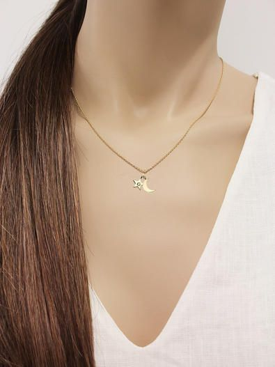 Sparkle Star and Moon Necklace - 10 Karat