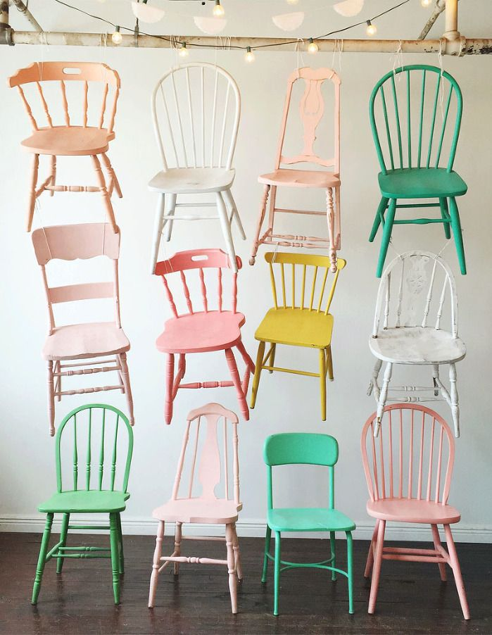 deko furniture. pastelpainted chairs all hung up to dry haha deko furniture