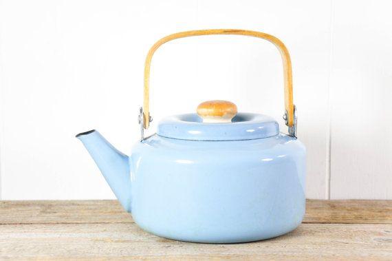 Vintage Blue Enamel Kettle Or Tea Pot Tea Pots Kettle Mid Century Lighting