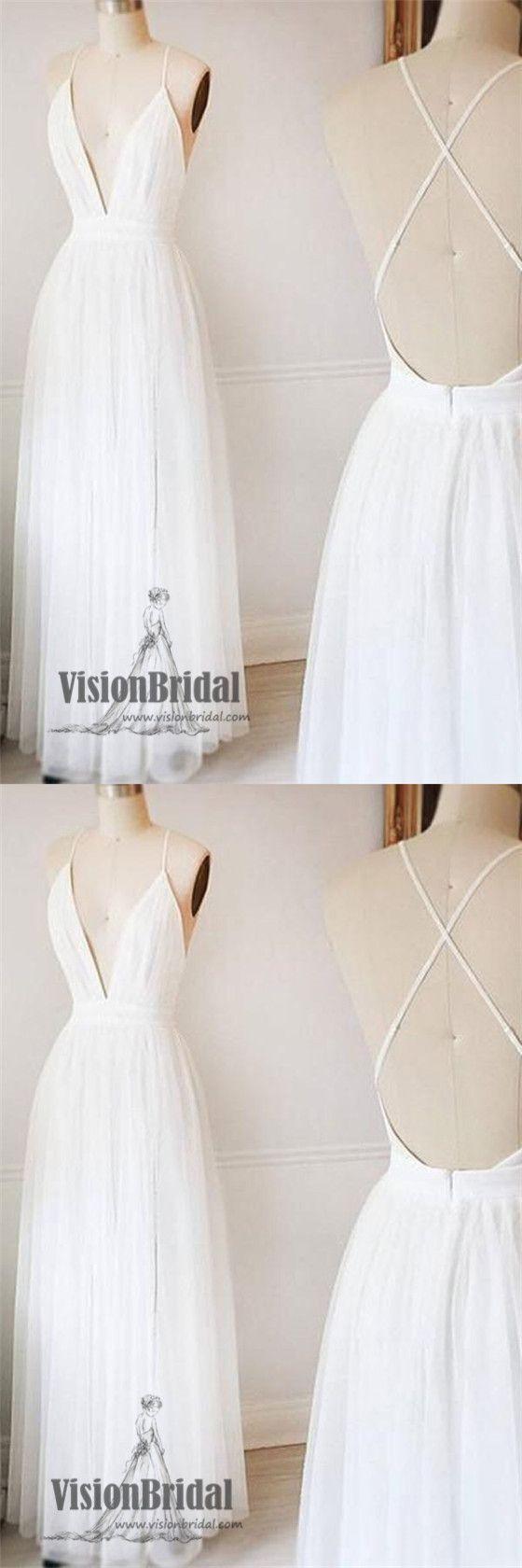 White spaghetti straps deep vneck crisscross back aline long prom