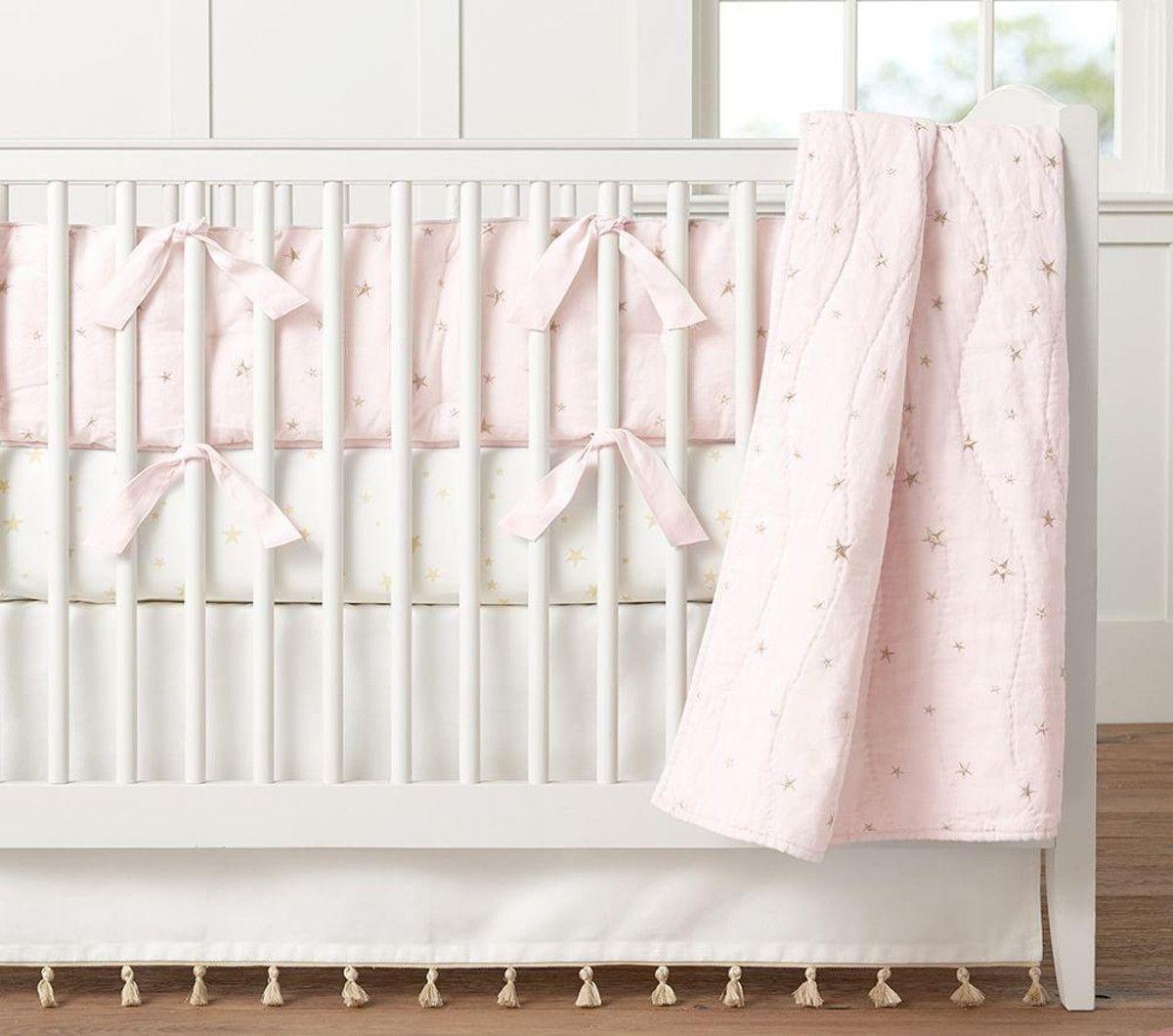 Organic Emily & Meritt Stars Nursery Bed Linen, Light Pink