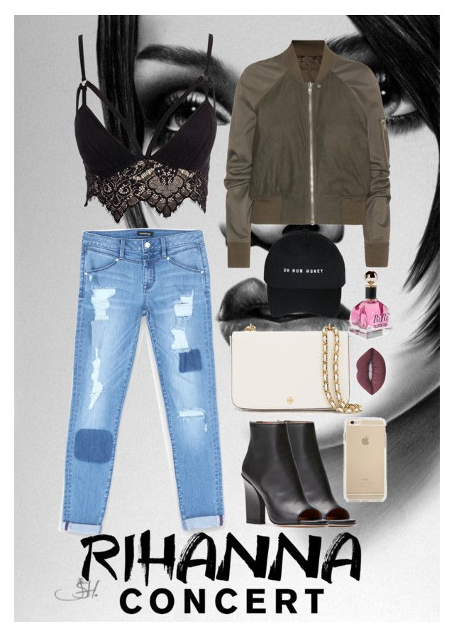 """""""Rihanna Concert"""" by katiebodlak on Polyvore featuring Club L, Bebe, Rick Owens, Tory Burch, Lime Crime and Rihanna"""