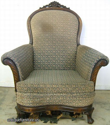 Photo of antique upholstered easy chair with ornate carving sold Friday  September 2003 in Metro Atlanta. - RESEARCH PHOTO - Living Room Chairs TATC - Nice Work - Research