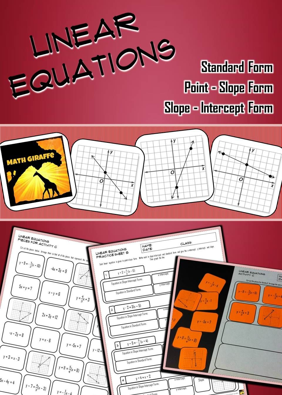 Linear equations practice activities standard form equation and activities practicing standard form slope intercept form and point slope form for falaconquin