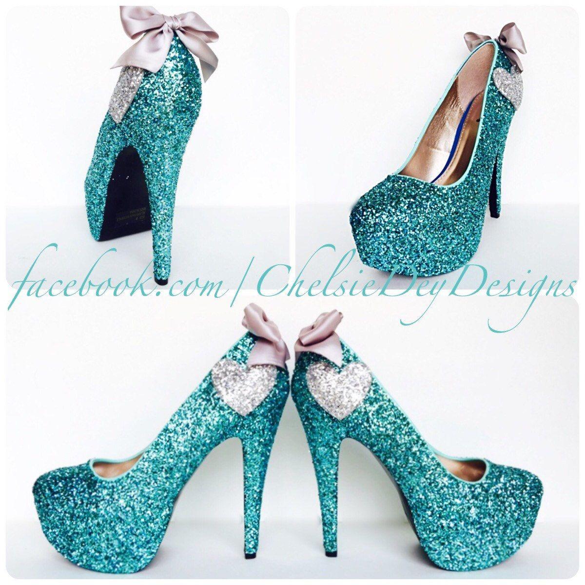 Glitter High Heels Robins Egg Blue Aqua Turquoise Pumps