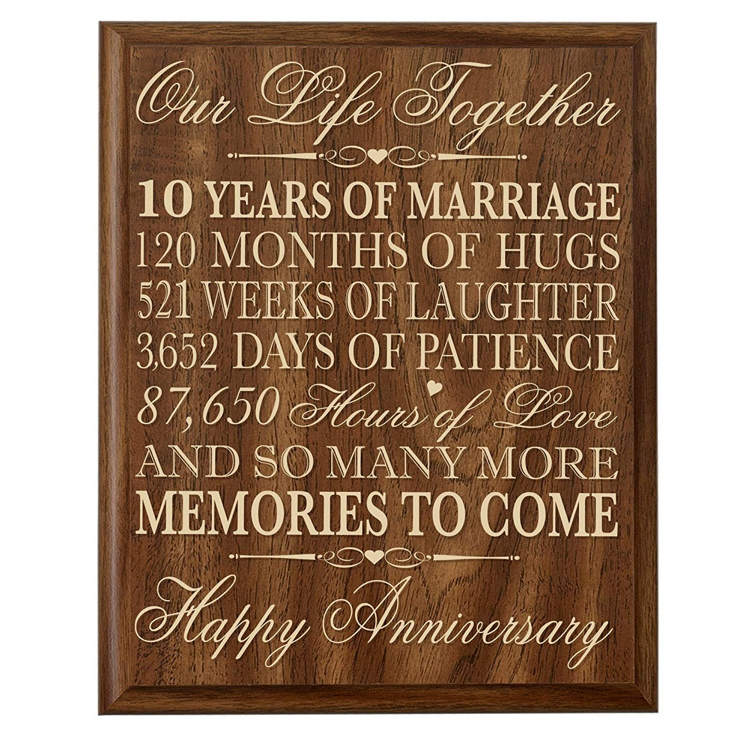 10th Wedding Anniversary Wall Plaque Gifts for