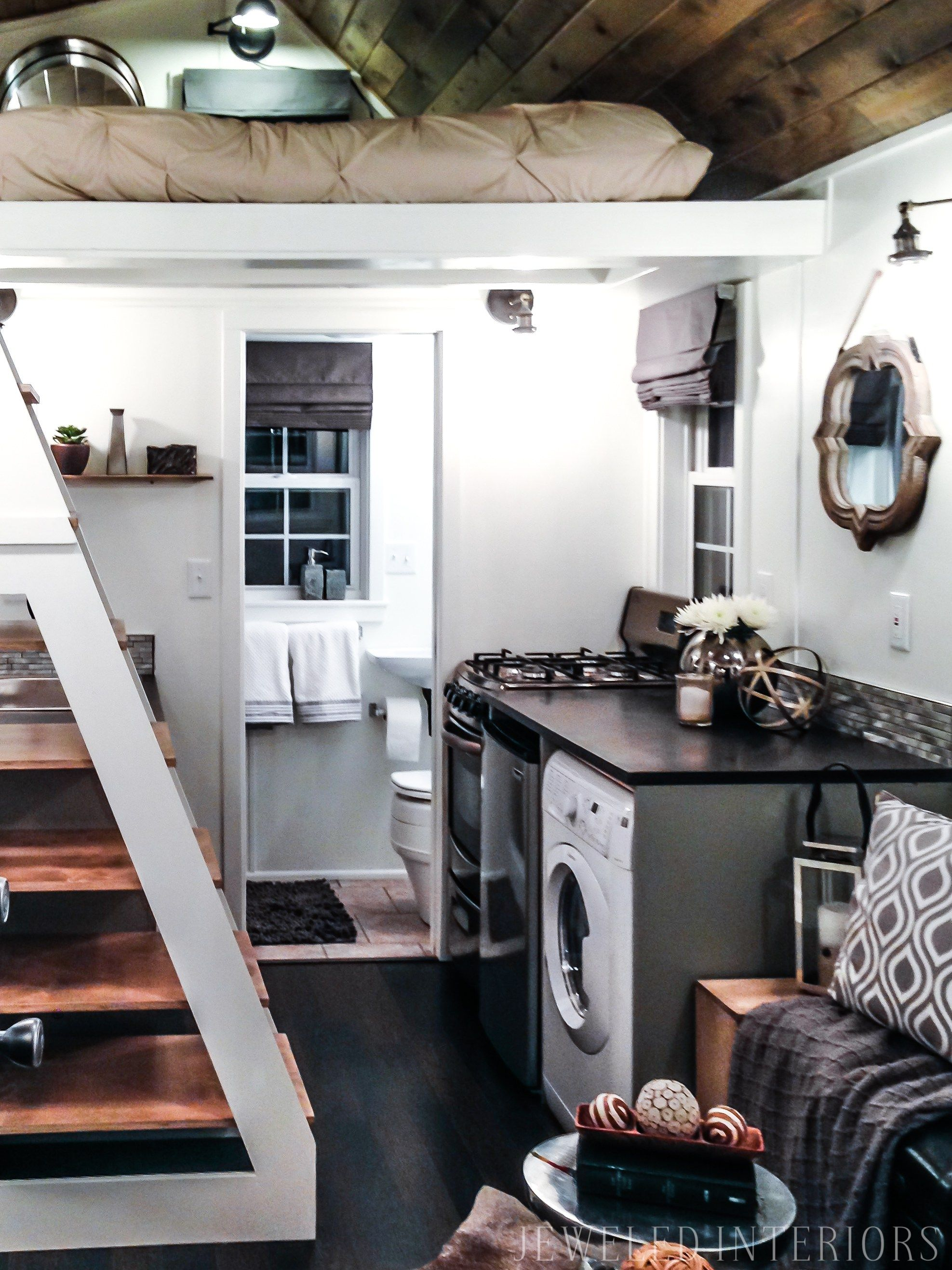 tiny home tiny house jeweled interiors porch kitchen living room bedroom kitchen wheels loft decorate design beautiful stunning rustic chic  [ 1975 x 2633 Pixel ]