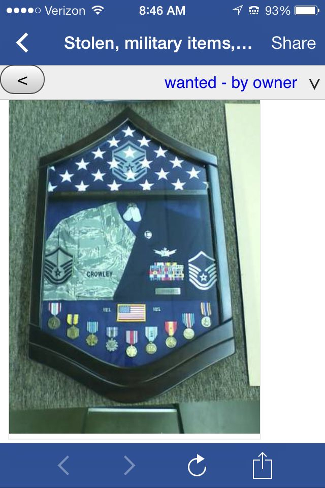 great way to display retired uniforms and medals!