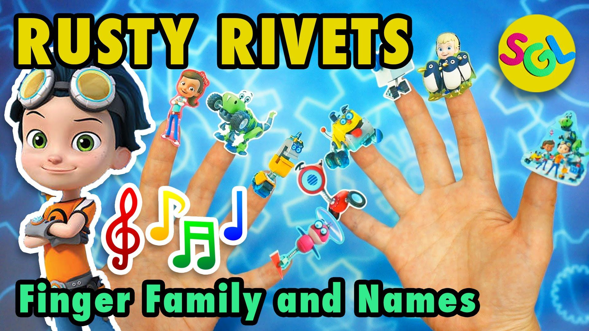 Rusty Rivets Finger Family Song for Kids: Names of Nick Jr Rusty ...