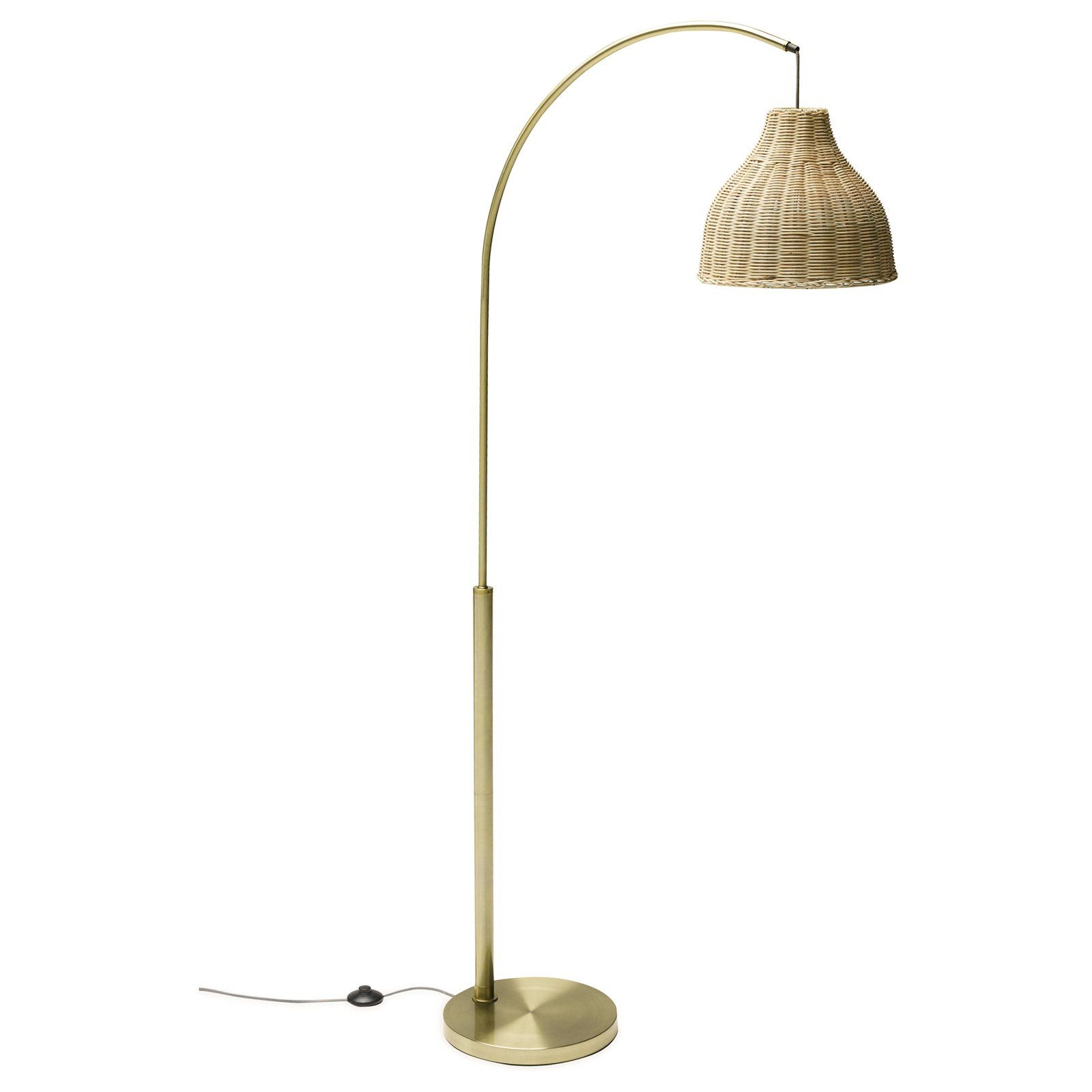 Antique Brass Arch Floor Lamp With Rattan Shade By Drew Barrymore Flower Home In 2020 Arched Floor Lamp Rattan Floor Lamp Floor Lamp