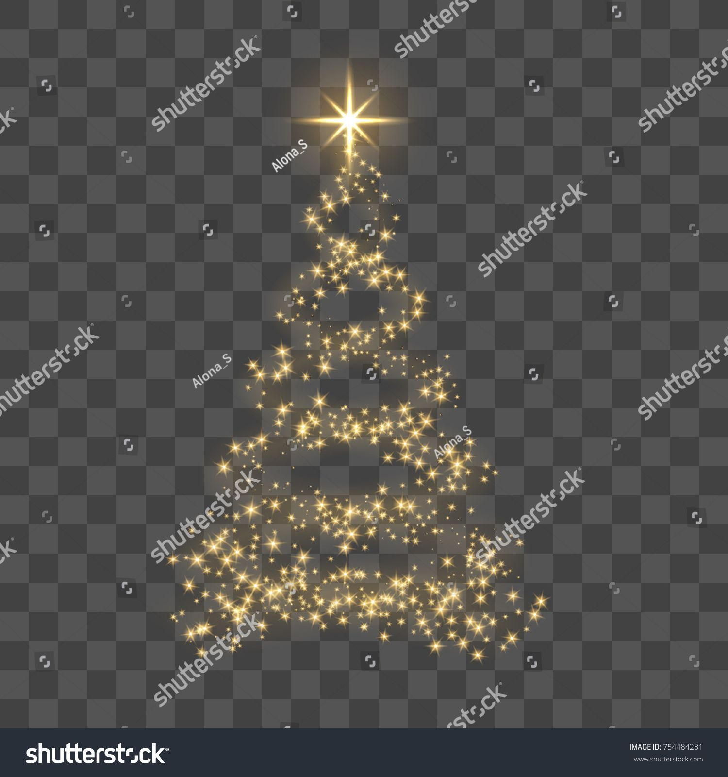 Christmas Tree On Transparent Background Gold Christmas Tree As Symbol Of Happy New Year Merry Christmas Ho Gold Christmas Tree Christmas Tree Gold Christmas