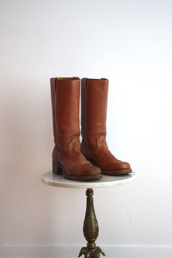 Campus Boots TALL Brown Leather  Women's 10  1970s by fiiimac, $78.00