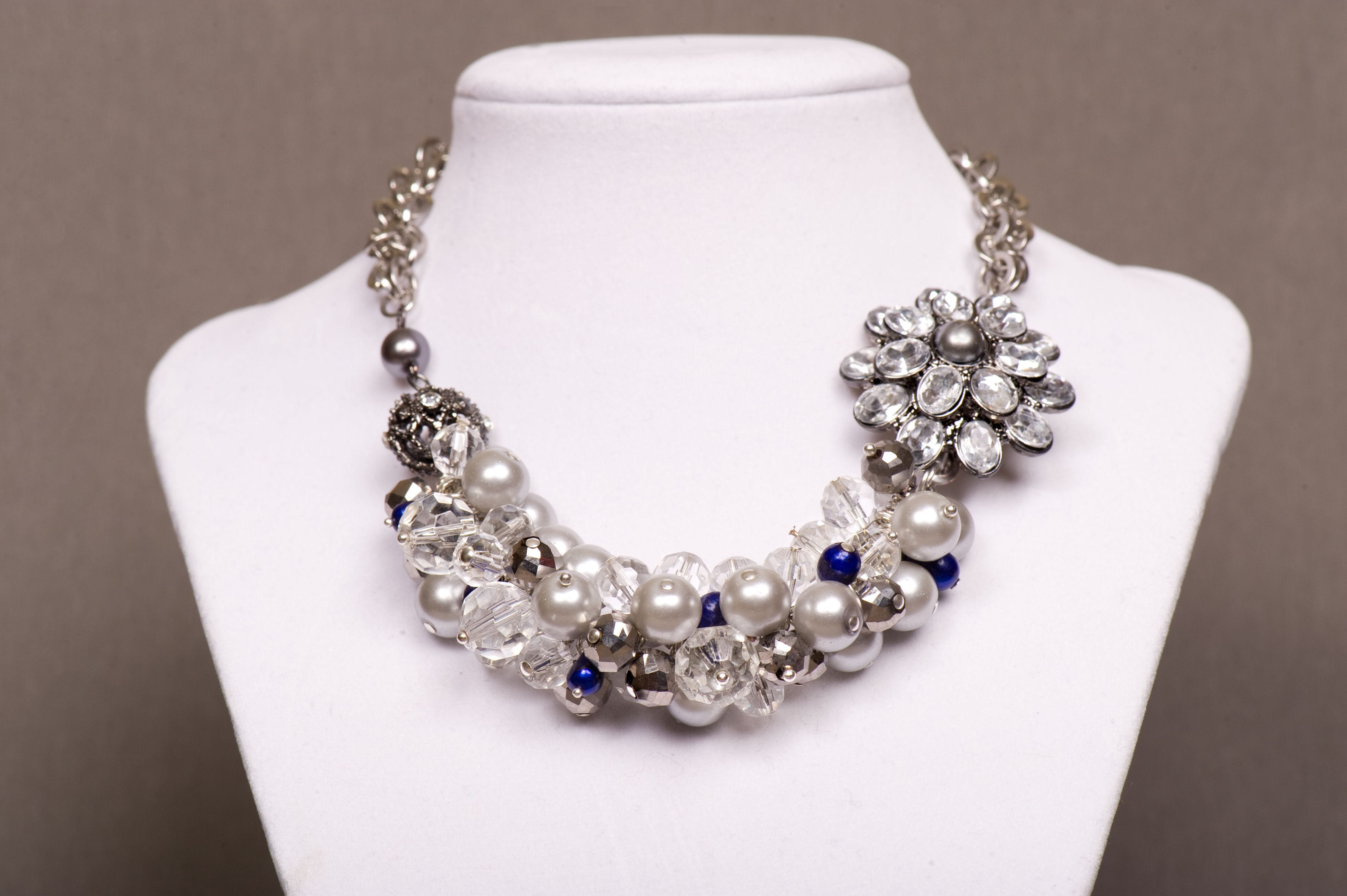 """Item 14203:  Mommy & Me Collection:  14"""" Glass pearl and faceted glass bead cluster necklace and nickel/crystal flower brooch (Blue freshwater pearls optional). LObster clasp $60.00"""