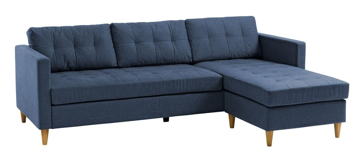 Falslev Sectional Sofa With Chaise Dark Blue Sectional Sofa