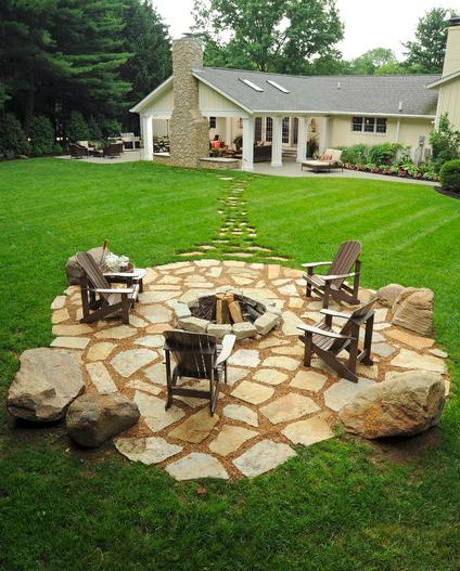 informal fire pit backyard outdoor