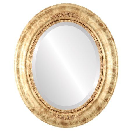 OvalAndRoundMirrors.com Oval Beveled Mirror in a Boston style Champagne Gold frame with 17x21 outside dimensions