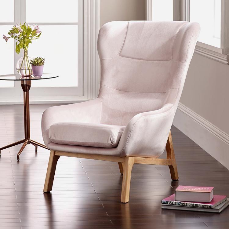 Best Lara Blush Pink Luxe Velvet Accent Chair – Perch Living 400 x 300