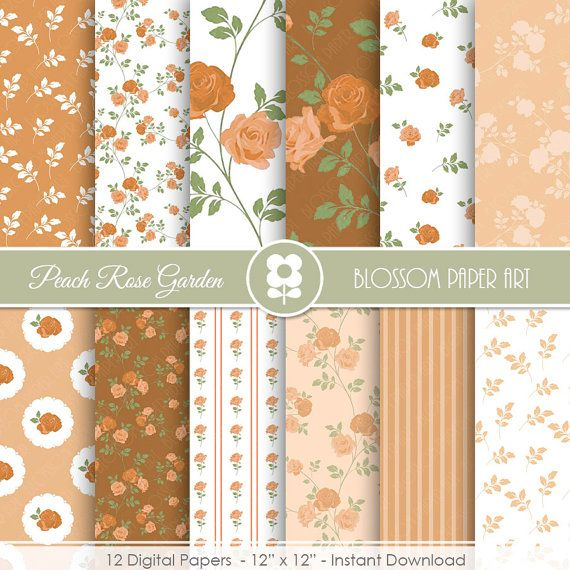 Floral Digital Paper, Digital Paper Pack, Peach Papers, Floral Wedding INSTANT DOWNLOAD  Use for Scrapbooking, Cardmaking, Handmade Stationery,