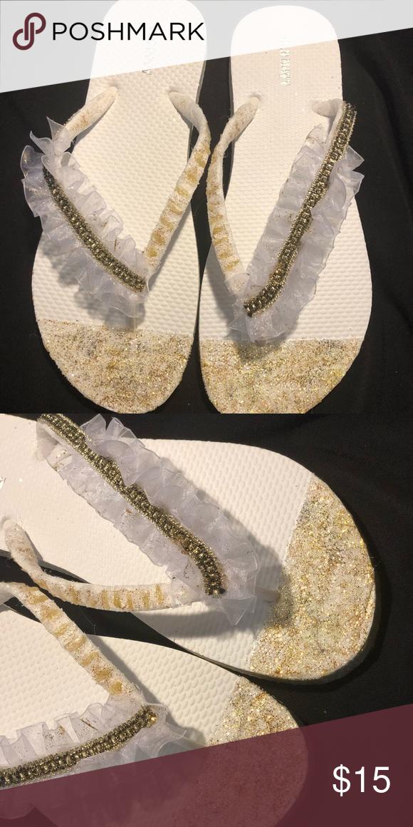 fcfc2123e5e White   Gold Ruffle Embellished Flip Flops White   Gold Ruffle Embellished Flip  Flops Old Navy Shoes Sandals