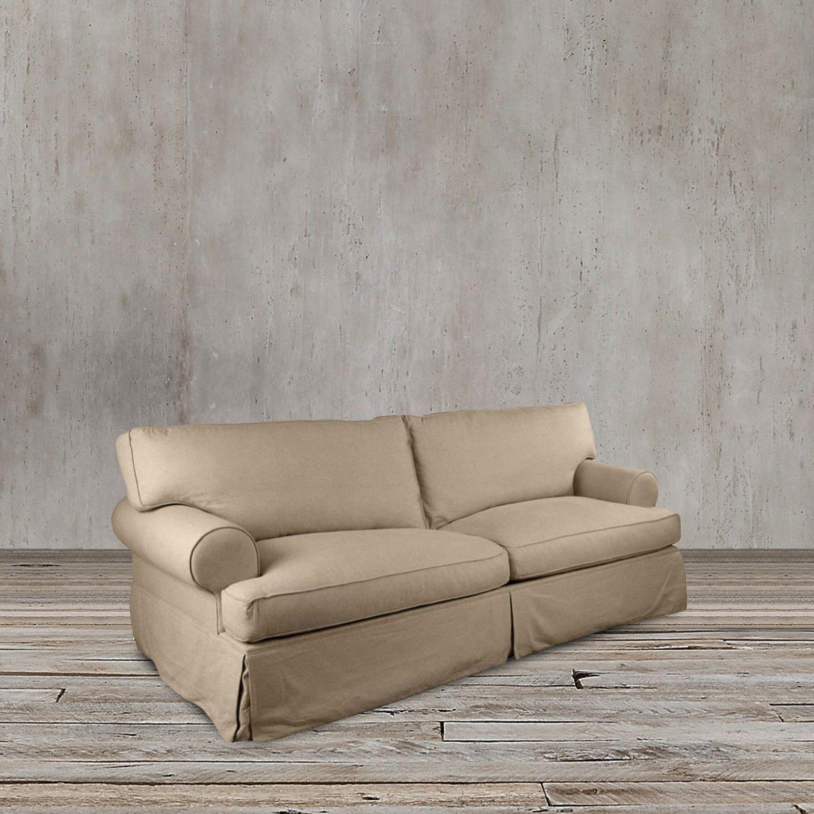 Tan Beige Sand Colored Slipcover Sofa