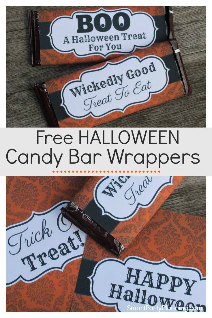 Halloween Candy Bar Wrappers that will Be a Huge Hit Free printable Halloween candy bar wrappers that are to be a sure huge hit with the young and old.  Use them as party favors, or for trick or treater's Halloween gifts. There are four fun designs that are available as an instant download. This is the perfect solution to fill up those Halloween treat bags!