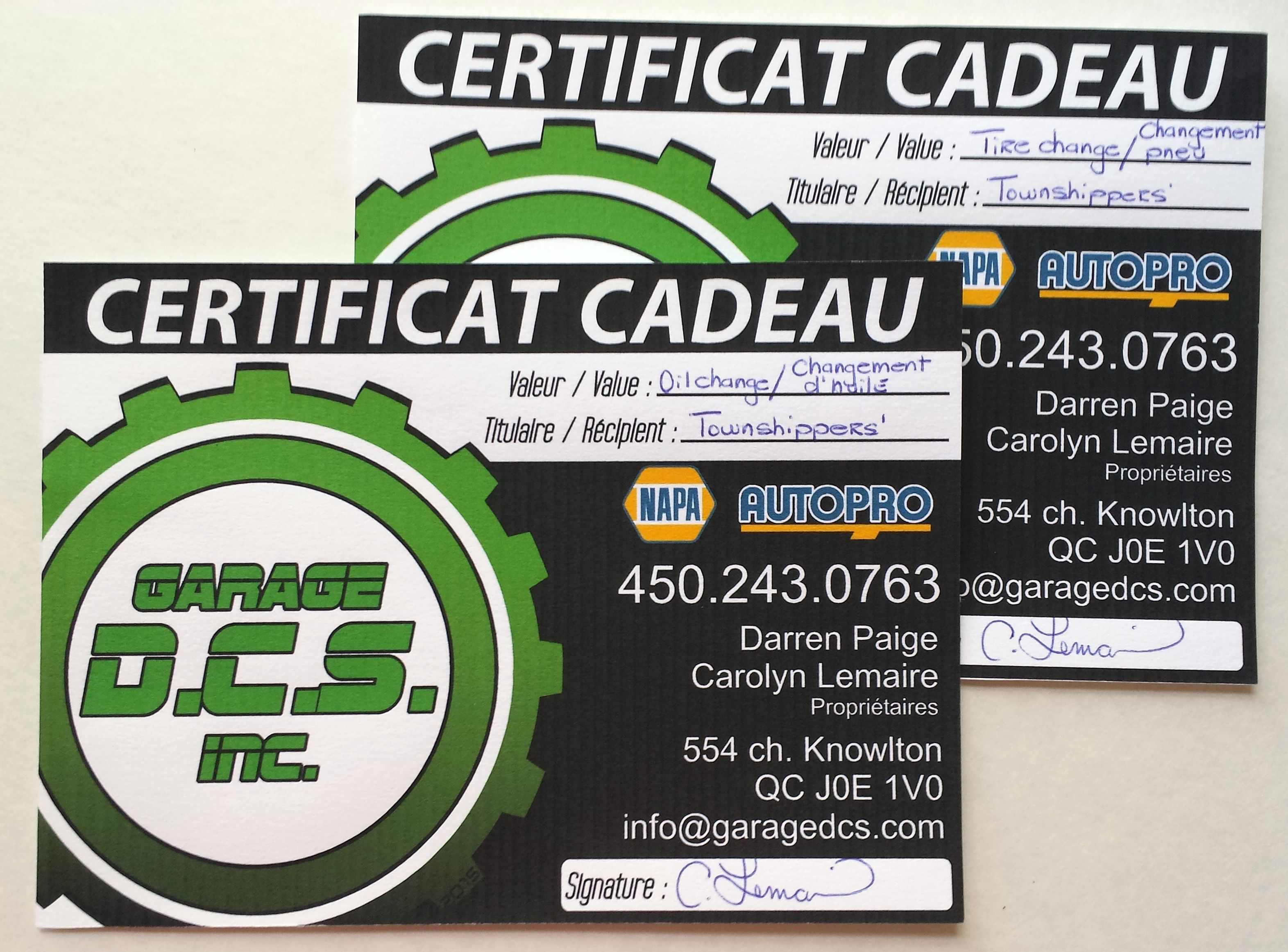 gift certificate oil change gift certificate tire change