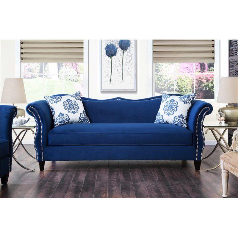 Best Furniture Of America Churcox Velvet Sofa In Royal Blue 400 x 300