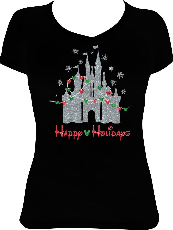 8e59fb1a Disney Castle Christmas V Neck Tee   Disney   Disney christmas ...