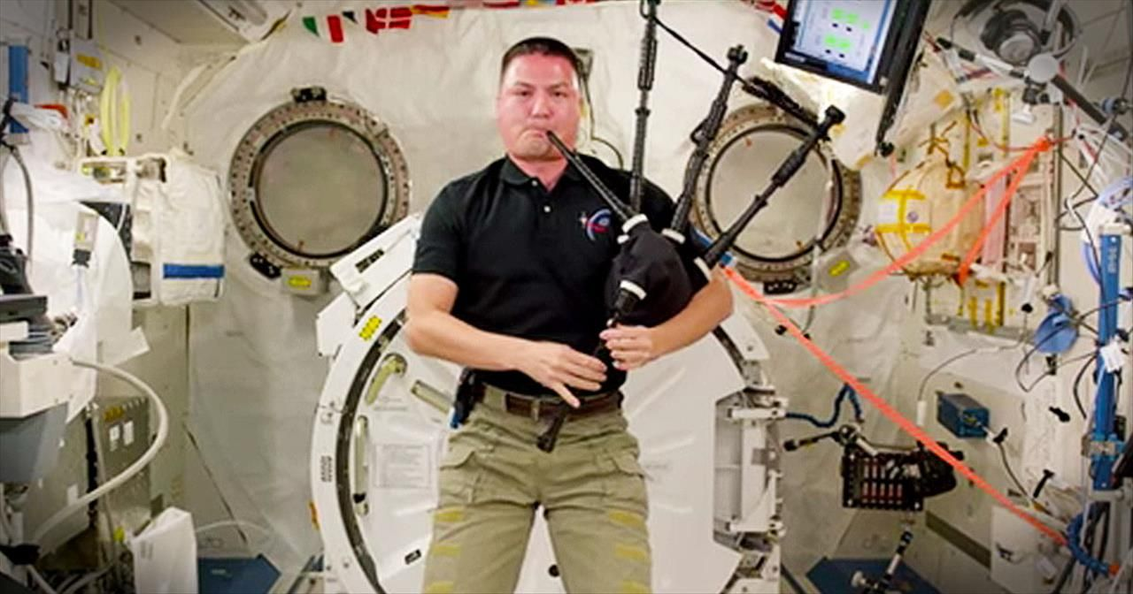 He's Playing The Bagpipes In Space. And The Hymn He Chose