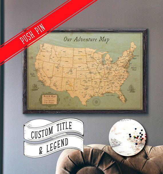 """USA Map Push Pin Map Rustic Style 13x19"""""""