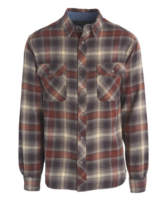Dead Wood Plaid Flannel Miners Wash Button-Up
