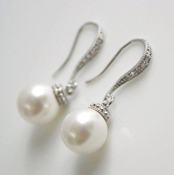 Bridesmaid Jewelry Pearl Jewelry Pearl Earrings Cubic Zirconia Bridal Earrings Silver White Swarovski Round Pearl Drops Wedding Jewelry