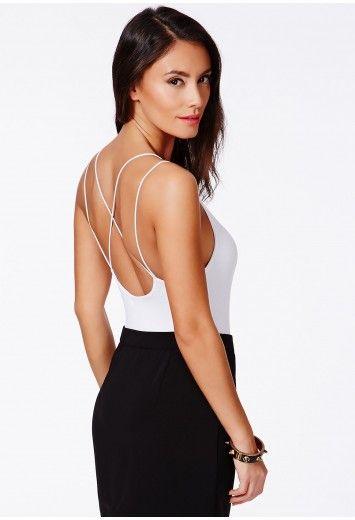 Vitricia Strappy Cross Back Bodysuit - Tops - Bodysuits - Missguided