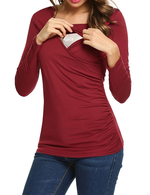 ekouaer round neck maternity top ruched nursing blouse breastfeeding