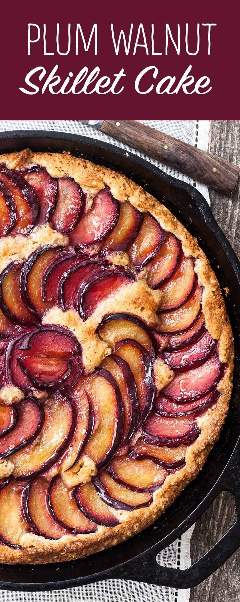 Plum Walnut Skillet Cake is almost as easy at it is gorgeous. Batter takes minutes to make in the food processor. Use any variety of plums you like.