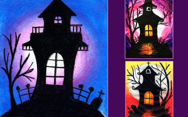 Free Art Lesson Haunted House Easy Peasy Art School Halloween