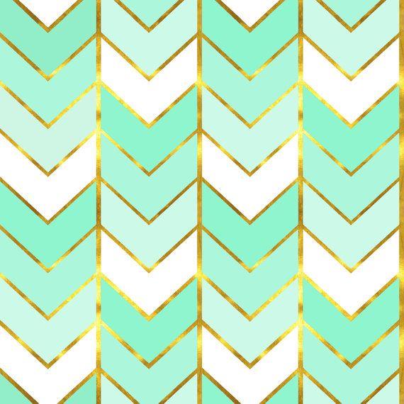 Chevron Fabric Gilded Ombre Herringbone In Mint By   Fabrics ...