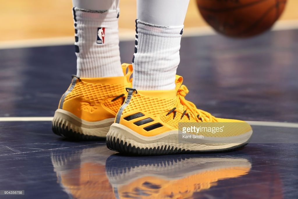 News Photo : The sneakers of Donovan Mitchell of the Utah Jazz.