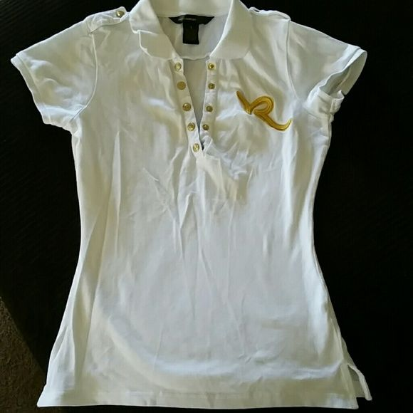 Rocawear polo shirt White with Gold logo and accent buttons, like new condition Rocawear Tops