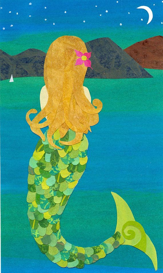 Pacific Mermaid  Collage Art Print of Mermaid in by artcollage, $16.00