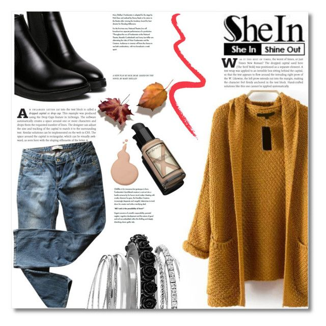 """""""Hooded Chunky Knit Coat by SheIn"""" by pattyboombr ❤ liked on Polyvore featuring Avenue, Max Factor, Topshop and Levi's"""
