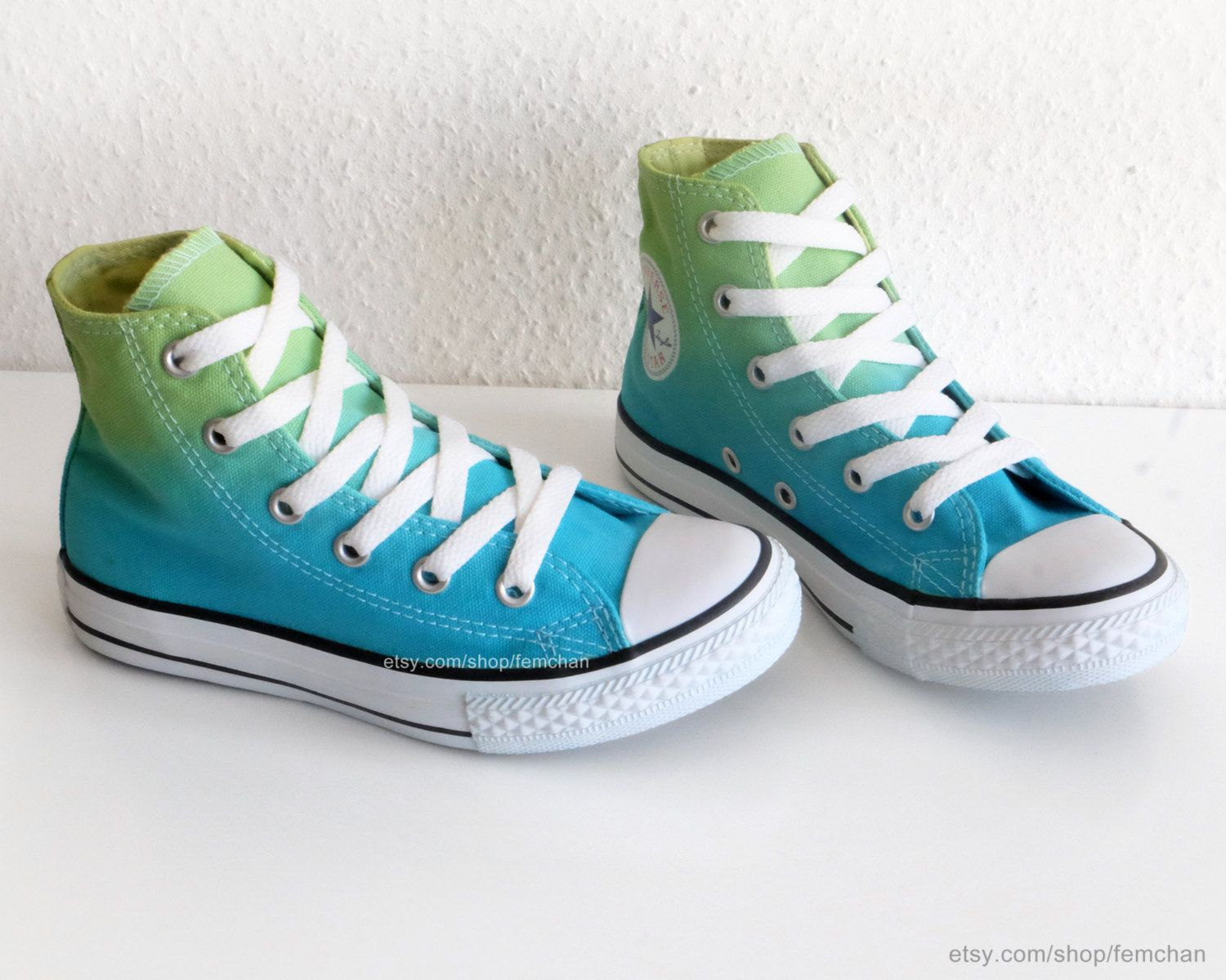 dd395b61bc7397 ... authentic brand new converse all stars transformed with a fresh spring  green to clear turquoise ombré